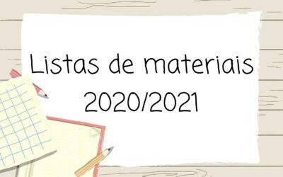 Listas de Materiais- 2020/ 2021